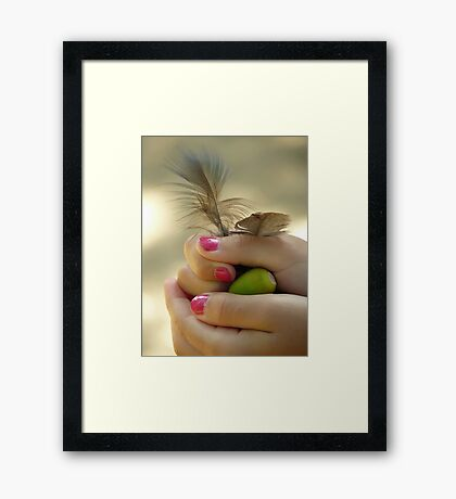 Girls treasures... Peacock feathers and acorn... Framed Print