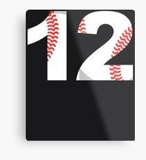 Number 12 Baseball Softball #12 Metal Print