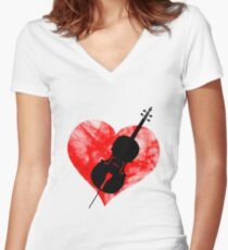 Violin in a heart Women's Fitted V-Neck T-Shirt