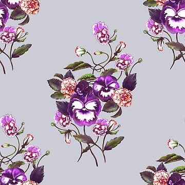 Pansy Deep Purple on Dove Grey by ThistleandFox