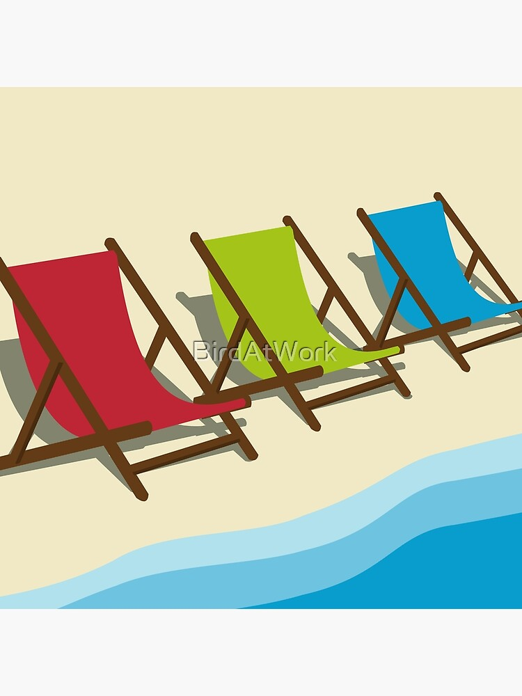 Deck Chairs on the Beach by BirdAtWork