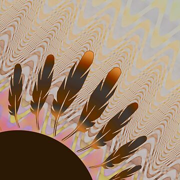 Boho Feather Sun and Wavy Pastel Lines by jocelynsart