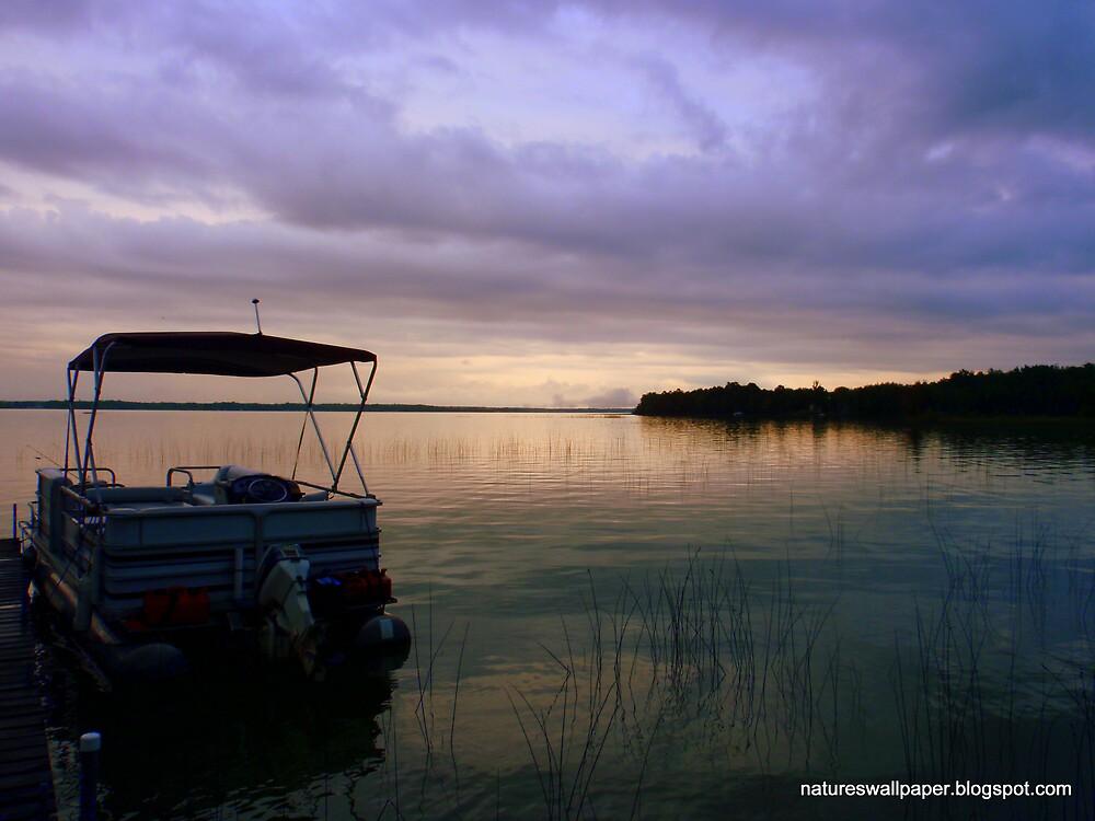 Pontoon Boat Sunrise by 1greenthumb