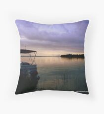 Pontoon Boat Sunrise Throw Pillow