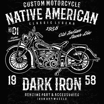 Native American Dark Iron Motorcycle by GarnetLeslie