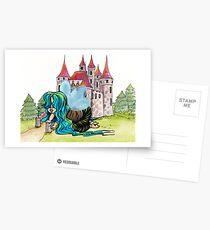 Feenhaftes Baby, das mit einer Burg spielt Postkarten