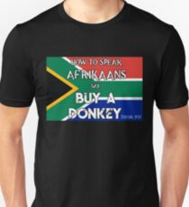3aacf08571d South African Funny T Shirt How to Speak Afrikaans say Buy a Donkey Unisex  T-