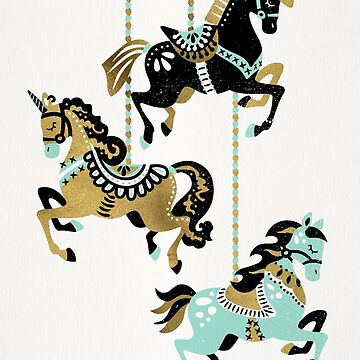 Carousel Horses – Mint & Gold Palette by catcoq