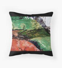 Green Paint on Brick Throw Pillow