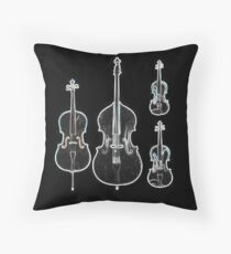 The Four Strings - Violin, Viola, Cello, Bass  Throw Pillow