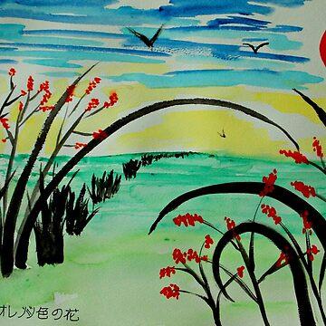Orange Blossoms on Landscape by ditempli