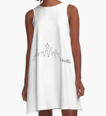Seattle Skyline Sketch Calligraphy  A-Line Dress