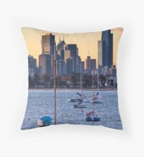 Melbourne Skyline from St KIlda Pier Throw Pillow
