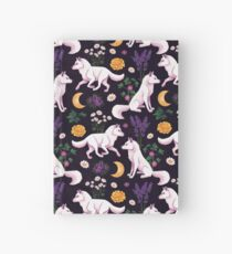 White Wolf Floral Pattern Hardcover Journal