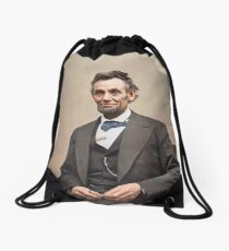 Colorized  - Abraham Lincoln Drawstring Bag