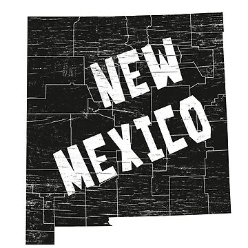 New Mexico Home Vintage Distressed Map Silhouette by YLGraphics