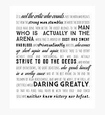 Tolles Roosevelt-Zitat, Schriftgestaltung gewagt Fotodruck