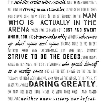 Daring Greatly Roosevelt Quote, Font design by shminoa