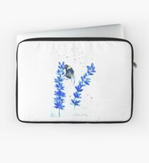 Bumble bee and blue flowers Laptop Sleeve