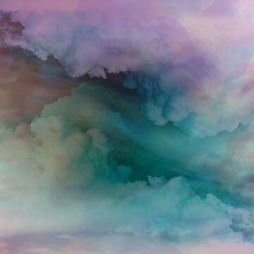 Pretty Colorful Pink and Turquoise Neon Clouds by naturemagick
