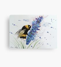 Bumble bee and Lavender  Metal Print