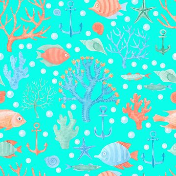 Colorful Sea Design with Fish and Coral by DeepDenn
