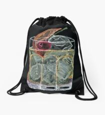 Icey Old Fashion Cocktail - Bar Clock Drawstring Bag