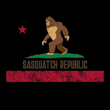 California Republic Flag Sasquatch Republic Shirt Gear by DynamicDesign