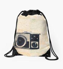 Retro - Vintage Pastel Camera on Beige Pattern Map Background Drawstring Bag