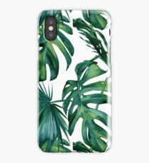Classic Green Tropical Monstera Leaf and Palm Leaves on White iPhone Case