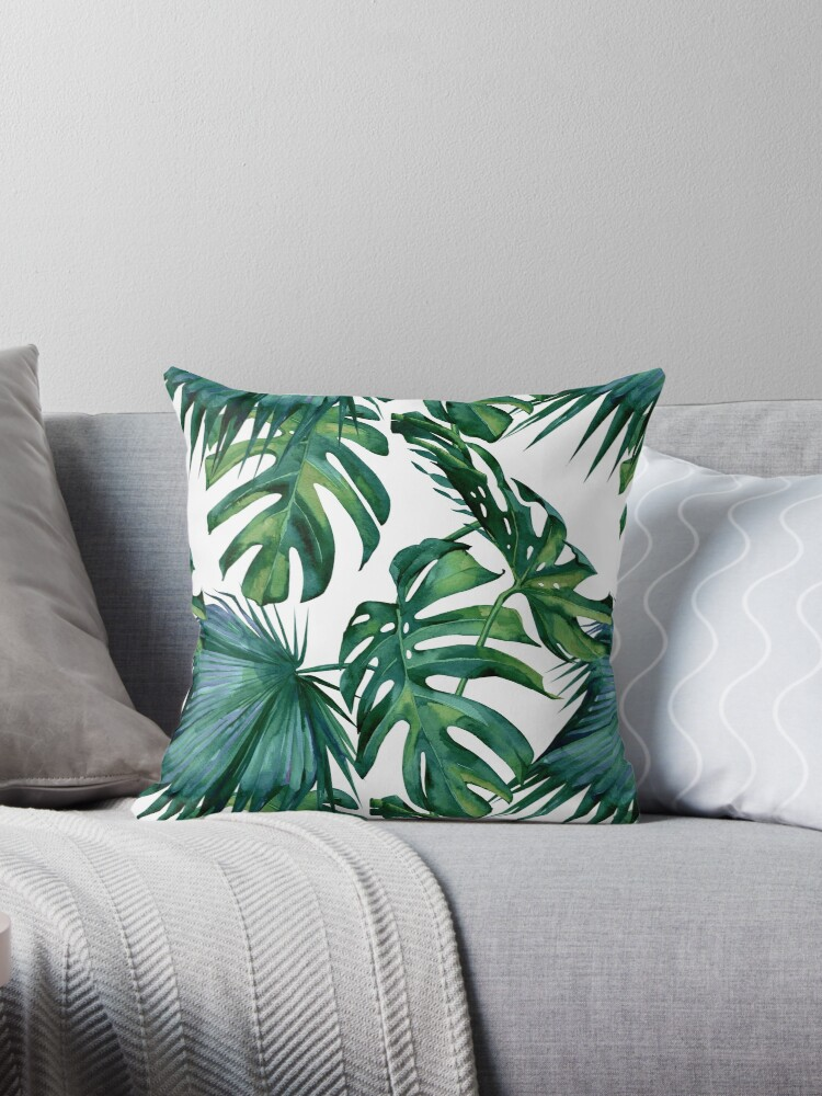 Classic Green Tropical Monstera Leaf and Palm Leaves on White by SimpleLuxe
