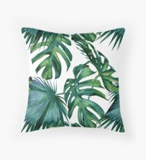 Classic Green Tropical Monstera Leaf and Palm Leaves on White Throw Pillow