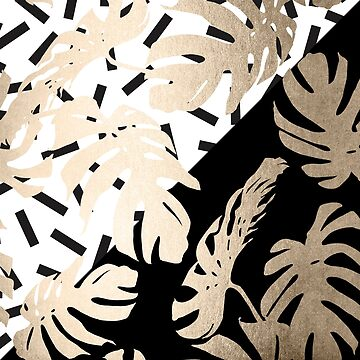 Gold Monstera Leaf Tropical Black and White Modern Art Design by SimpleLuxe