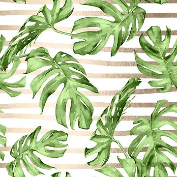 Gold Monstera Leaf Tropical Green and White Modern Art Stripes Design by SimpleLuxe