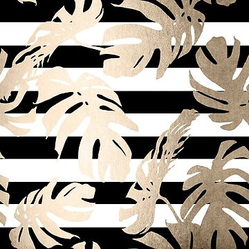 Gold Monstera Leaf Tropical Black and White Modern Art Stripes Design by SimpleLuxe
