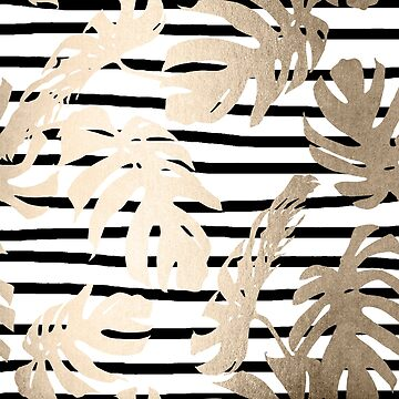 Gold Monstera Leaf Tropical Black and White Modern Art Polka Stripes Design II by SimpleLuxe