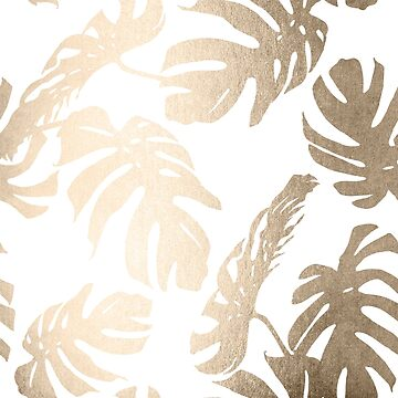 Gold Monstera Leaf Tropical Modern Design on White by SimpleLuxe