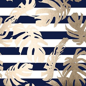 Gold Monstera Leaf Tropical Modern Design on White and Navy Stripes by SimpleLuxe