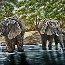 """Thirsty Elephants"" - Oil Painting by Avril Brand"