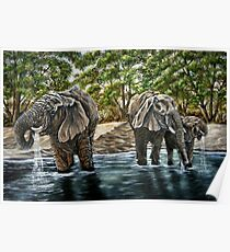 """Thirsty Elephants"" - Oil Painting Poster"