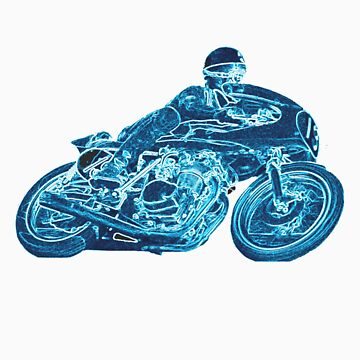 blue motorcycle by mariettesar