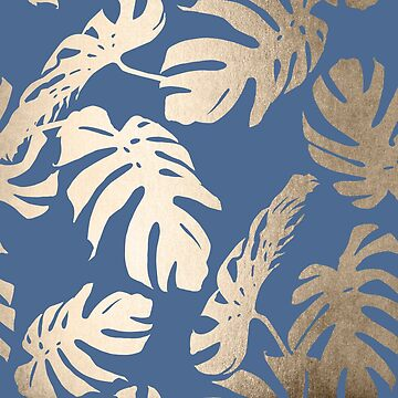 White Gold Sands Monstera Leaf Tropical Modern Design on Aegean Blue by SimpleLuxe