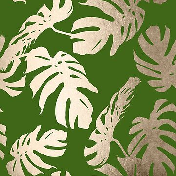 White Gold Sands Monstera Leaf Tropical Palm Leaves Modern Design on Jungle Green by SimpleLuxe