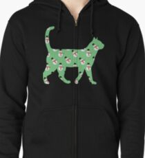 Green Snowman Cat Zipped Hoodie