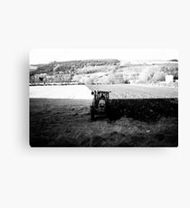 Black and White Tractor Canvas Print