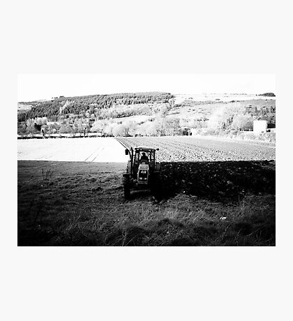 Black and White Tractor Photographic Print