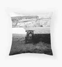 Black and White Tractor Throw Pillow