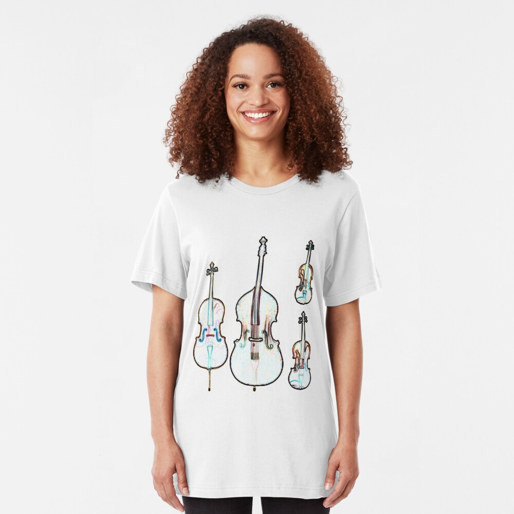 The Four Strings - Violin, Viola, Cello, Bass Slim Fit T-Shirt