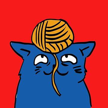 Blue Cat & Yarn Kitty Sticker Leggings Pillows Mugs Notebooks Pocket T-shirt  by TheKitch