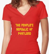 The People's Republic of Portland (yellow letters) Women's Fitted V-Neck T-Shirt